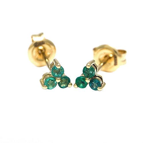 14k Yellow Gold Mini Emerald Triumvirate Stud Earrings