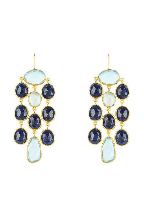 Splash Gemstone Earring Gold Sapphire Hydro