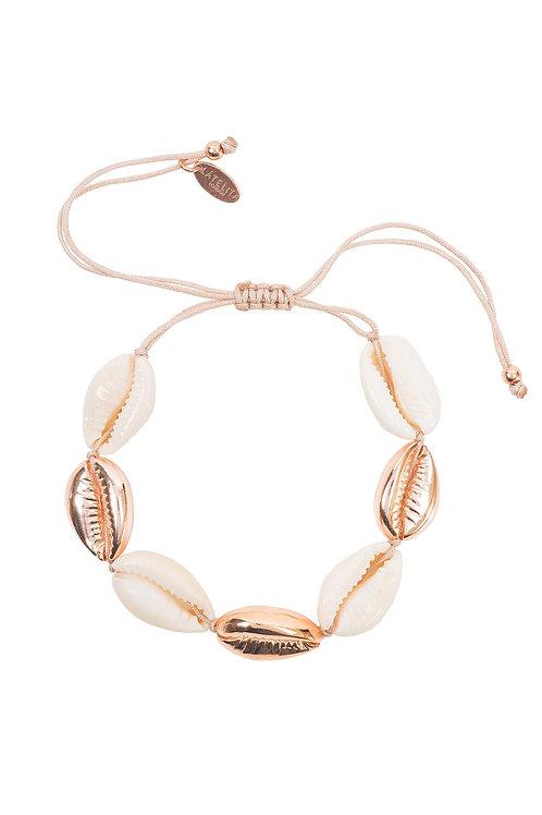 Cowrie Multi  Shell Macrame Bracelet Rose Gold
