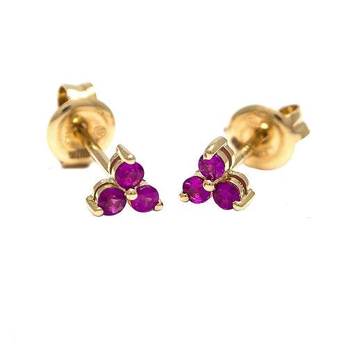 14k Yellow Gold Mini Ruby Triumvirate Stud Earrings