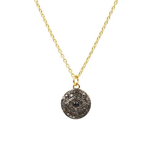 Diamond & Sapphire Evil Eye Necklace Gold