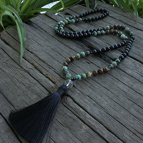 African Turquoise and Onyx Beaded Male Necklace