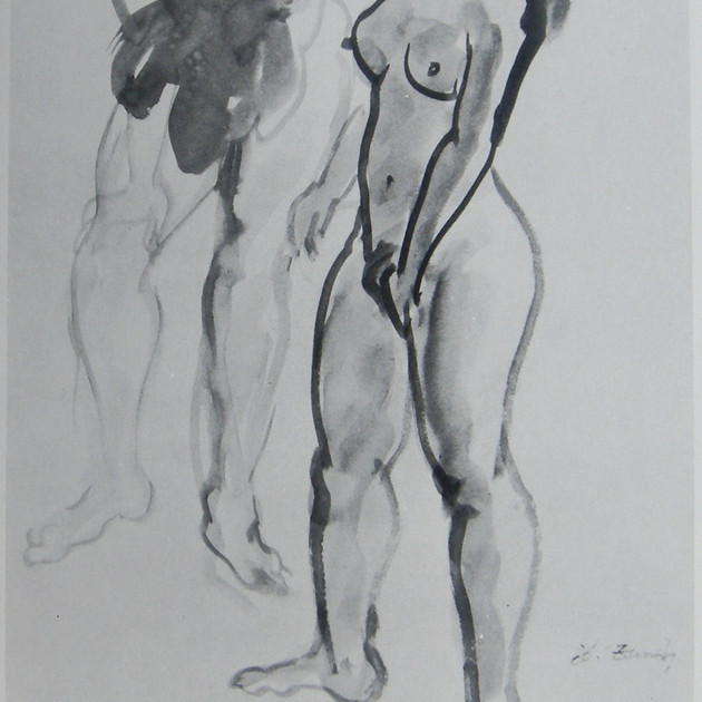Nude-2916 (18x15in) Black Ink on Paper