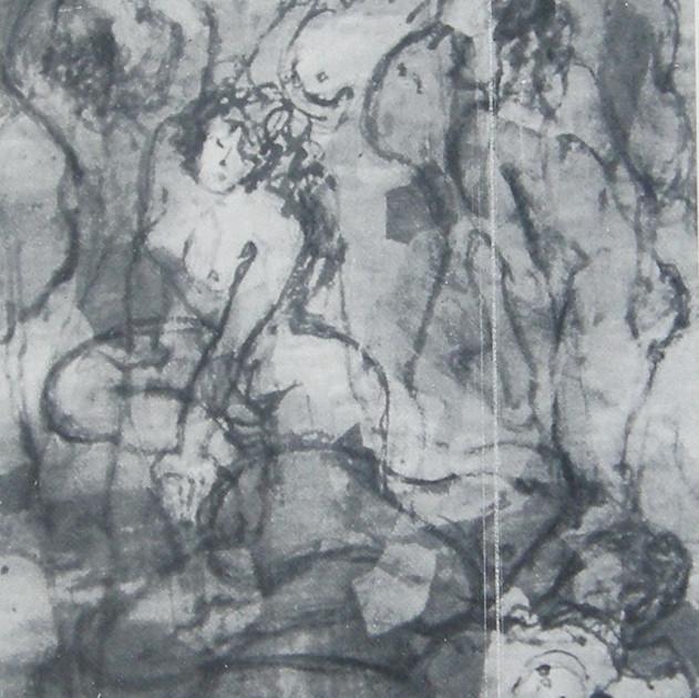 Nude-2986 (65x54in) Black Ink on Hanji