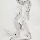 Nude-2907 (15x10in) Black Ink on Paper