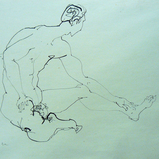 Nude-2913 (15x18in) Black Ink on Paper