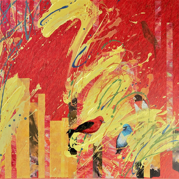 Timeless-1664 (30x40in) Mixed Media with Hanji Collage