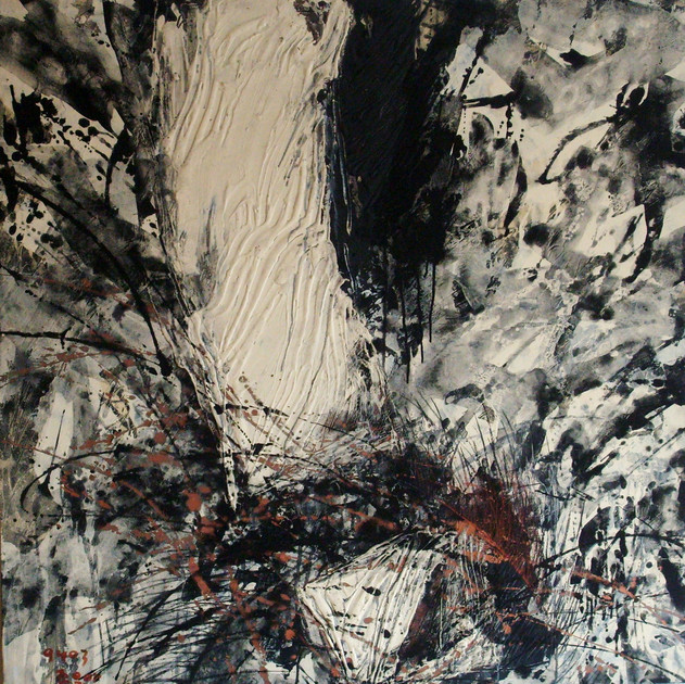 Abyss-9403 (48x48in) Mixed Media on Cotten