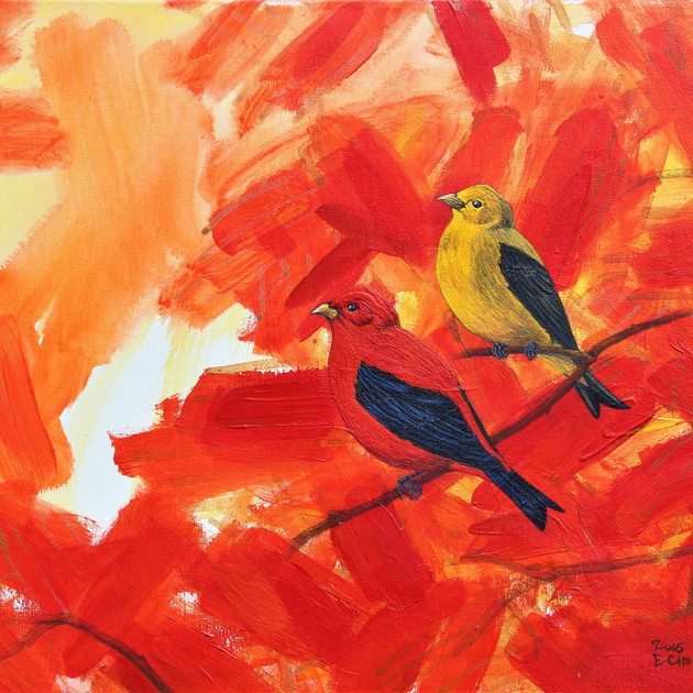 timeless2016-scarlet tanager (16x20in) Acrylic
