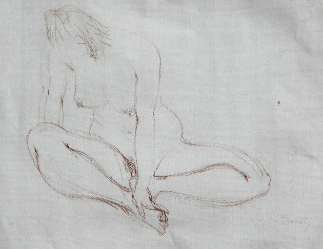 Nude-2905 (10x14in) Conté on Paper