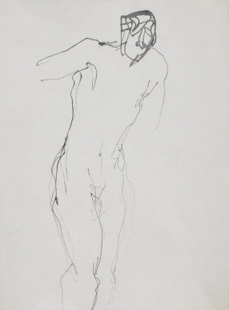Nude-2906 (17.5x9in) Black Ink on Paper