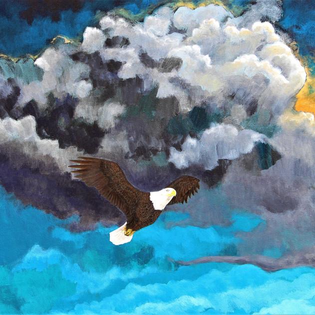 Timeless-2012, bald eagle, (24x36in), Acrylic