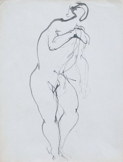 Nude-2901 (14x10.5in) Black Ink on Paper