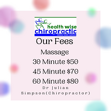 Our Fees for massage at Health Wise Chir