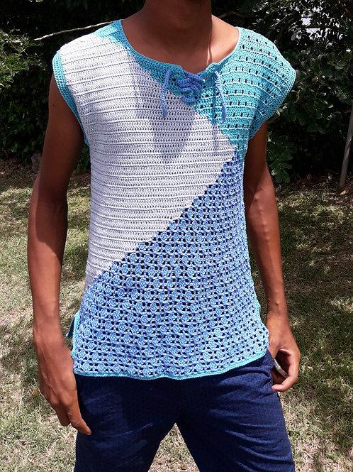 Tee-shirt homme création au crochet
