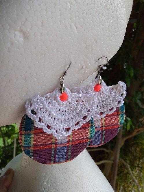 Boucles d'oreilles madras + crochet