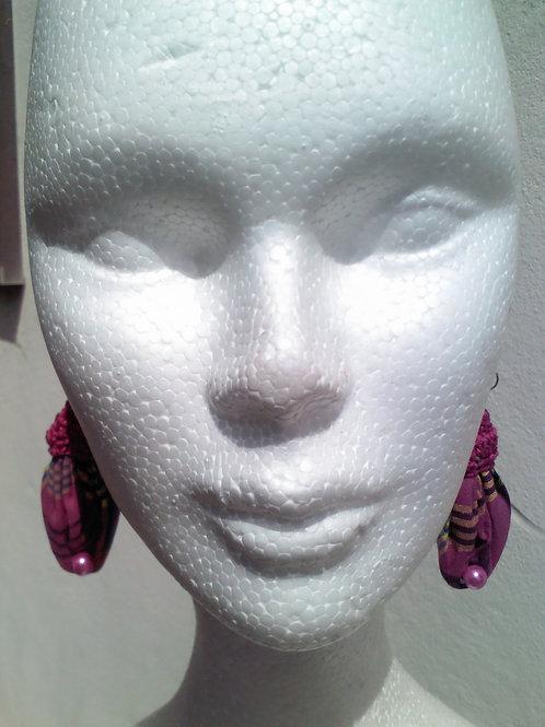 Boucles d'oreilles fuchsia création au crochet + madras