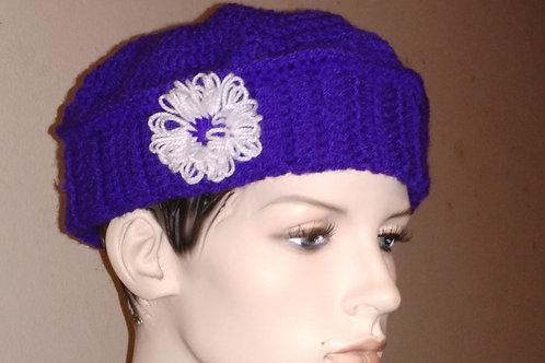 Béret violet 100% acrylique création au crochet