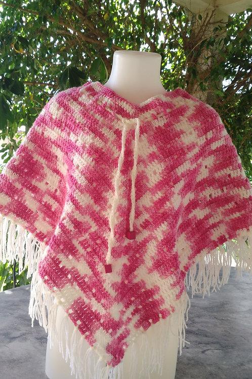 Poncho rose chiné 100% acrylique création au crochet