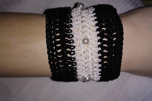 bracelet au crochet en nylon tressé noir et blanc