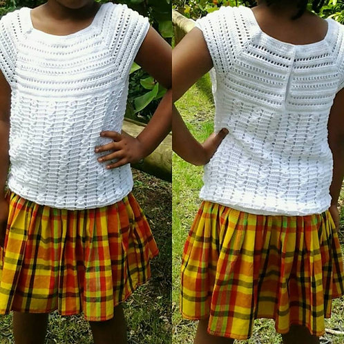 Robe 100% coton crochet et madras