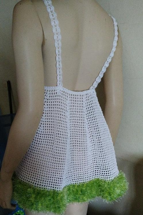 Nuisette blanche création au crochet 100% coton avec bordure en polyester