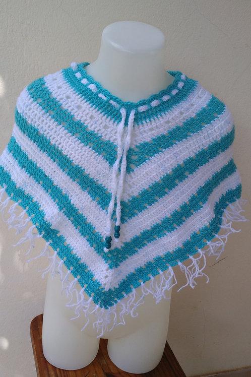 Poncho vert d'eau/blanc acrylique création au crochet