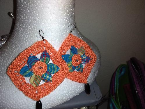 Boucles d'oreilles crochet + tissu madras