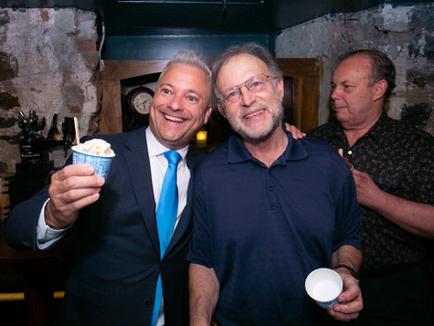 Sharing a scoop with Jerry Greenfield of Ben & Jerry's