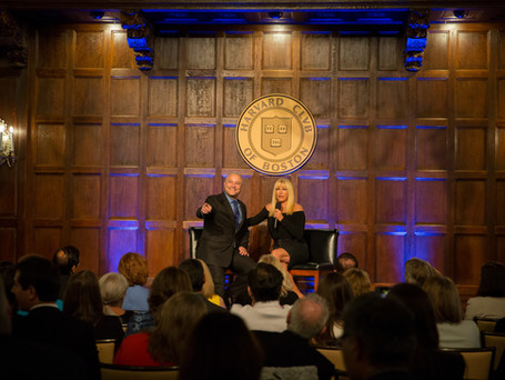 On Stage at Harvard Club of Boston with Suzanne Somers