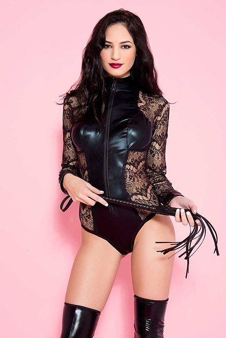 Wetlook/Lace Body With Long Sleeves