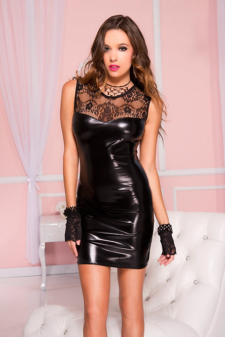Sleeveless wetlook dress with lace top