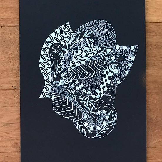 Flower Lady Monochrome Series -Original Artwork