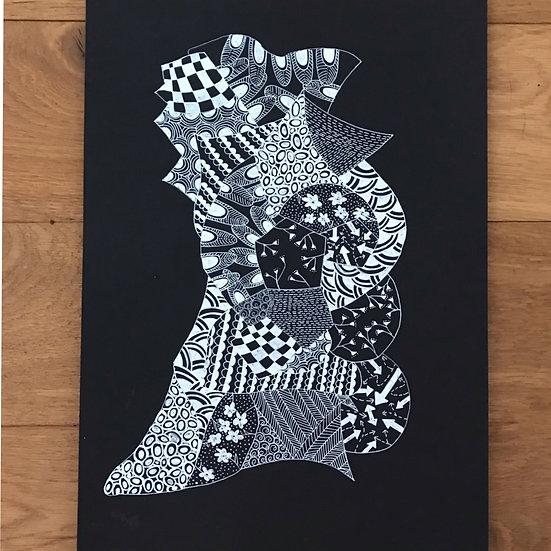 Baby Dino -Monochrome Series Original Artwork