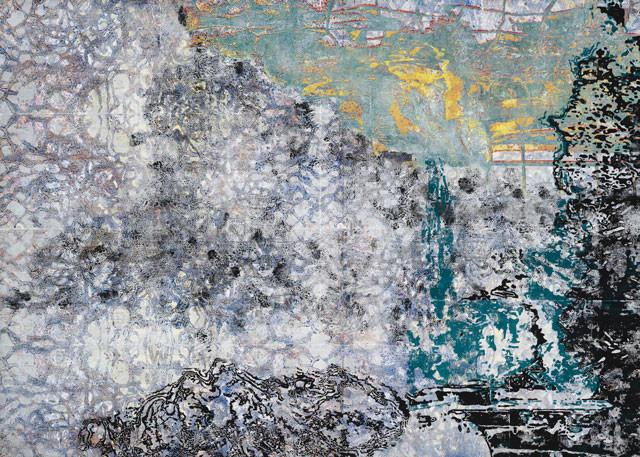 Silence XII, 2019, Monotypischer Holzschnitt auf Papier, 201 x 284 cm