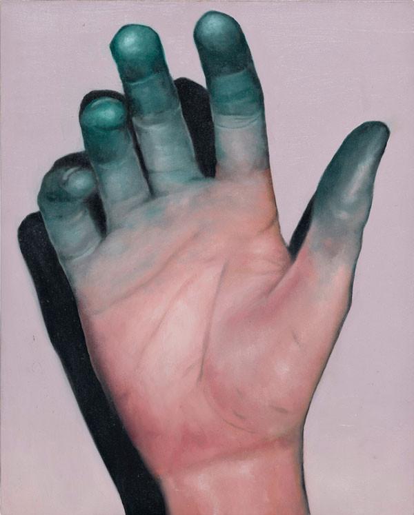 Michael Klipphahn, Hand, 2019, Öl auf Holz, 30x24 cm