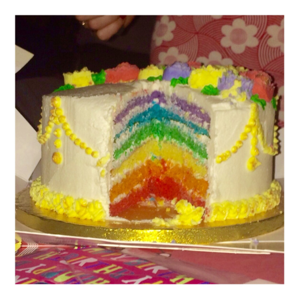 Did I mention that this was a rainbow cake?