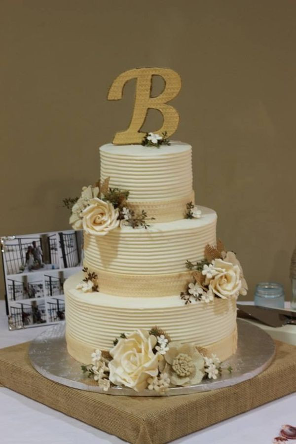 pixgood.com - burlap flower wedding cake