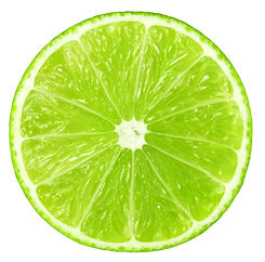 Juicy slice of lime isolated on white, w