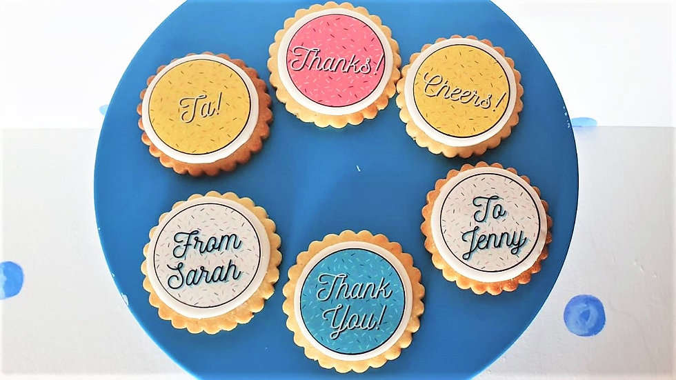 Luxury Box of 6 Personalised Thank You Biscuits