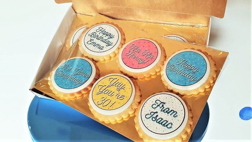 Luxury Box of 12 Personalised Happy Birthday Biscuits