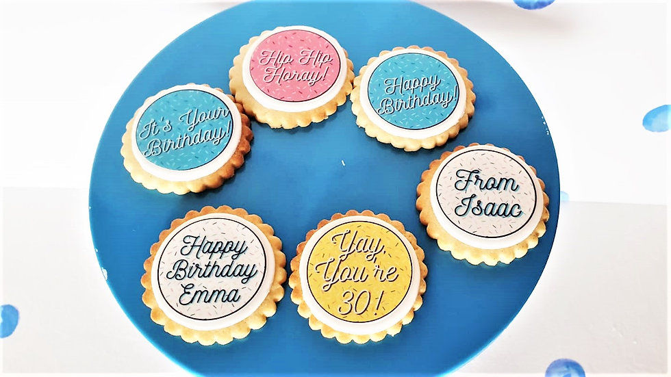 Luxury Box of 6 Personalised Happy Birthday Biscuits