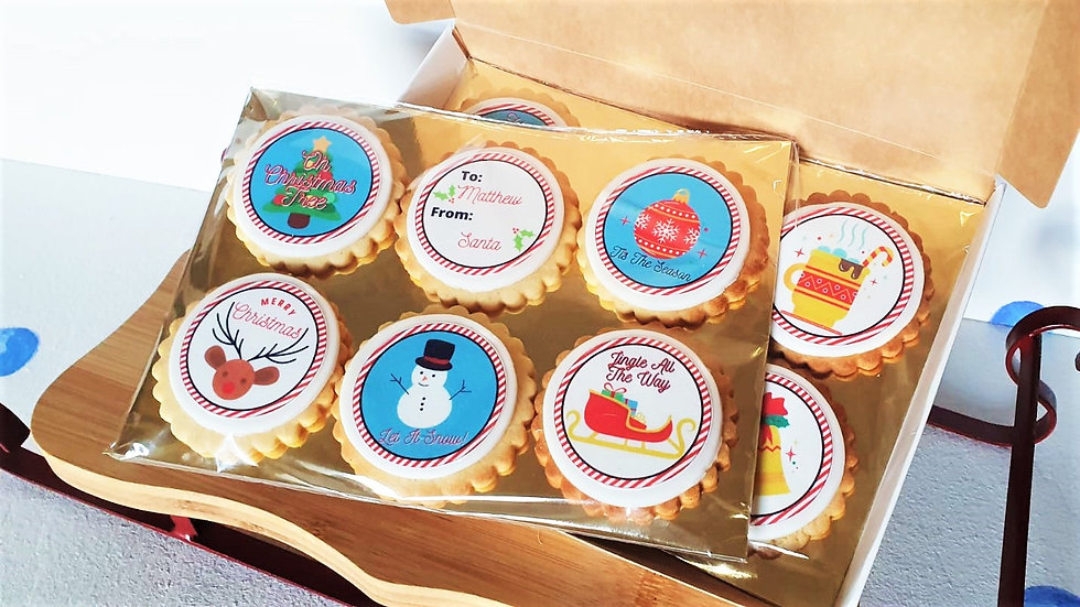 Christmas Luxury Box of 12 Personalised Biscuits