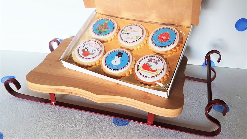Christmas Luxury Box of 6 Personalised Biscuits