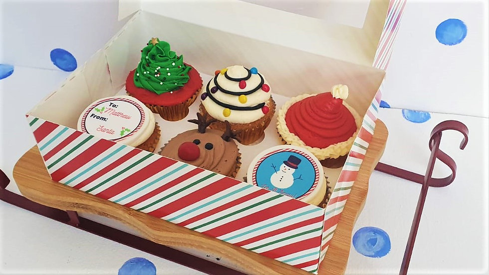 Christmas Luxury Box of 6 Personalised Cupcakes