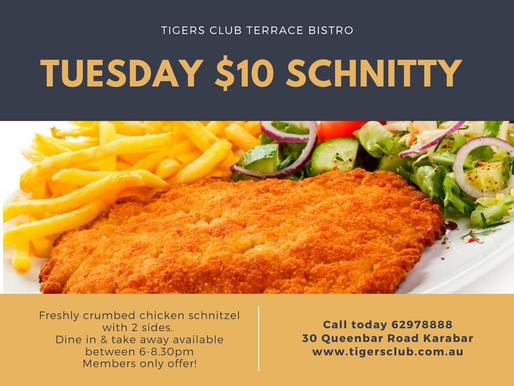 Tuesday Night $10 Schnitzel