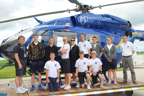 With cadets touring Mayo Clinic EMS Response team.