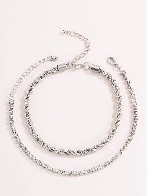 2 piece anklet set (silver).