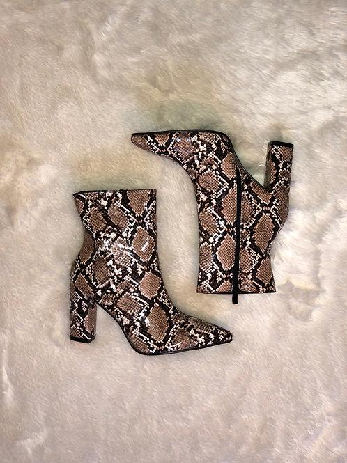 Tan snakeskin bootie