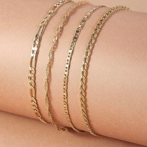 4 PACK ANKLET SET